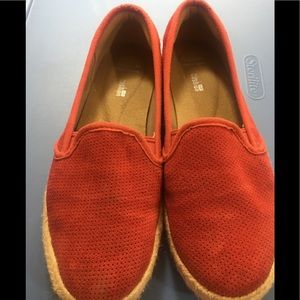 Clarks women red Slip on Red loafers